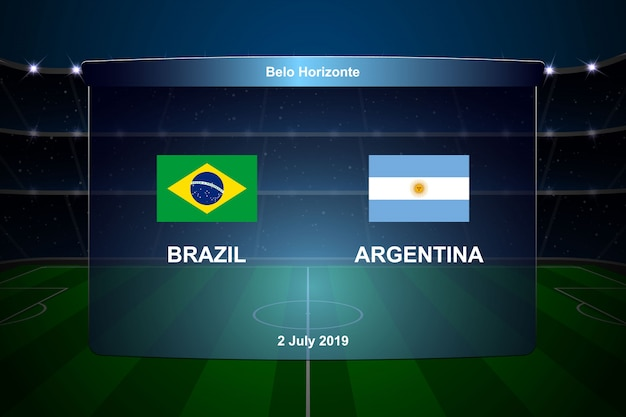 Brazil vs argentina football scoreboard Premium Vector