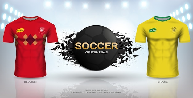 d1ab0830b9a Brazil vs belgium soccer jersey template. Vector | Premium Download