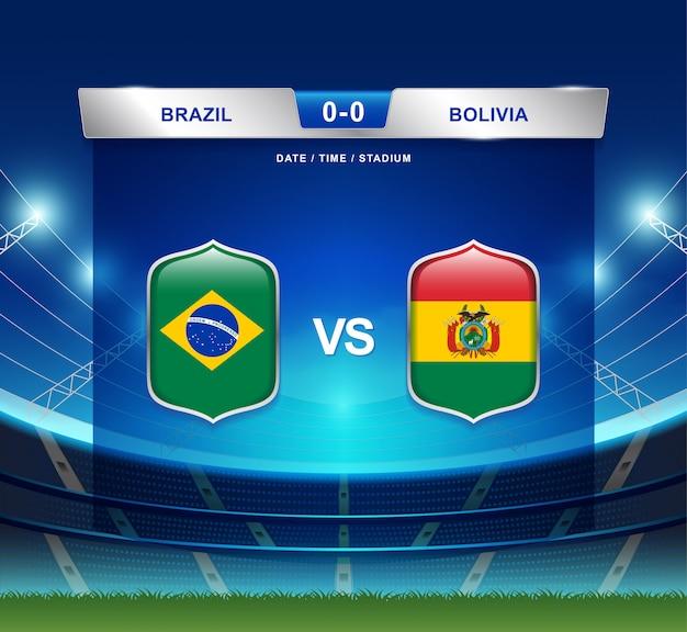 Brazil vs bolivia scoreboard broadcast football copa america Premium Vector