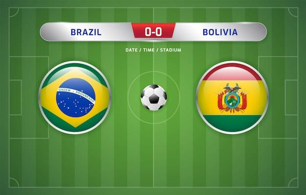 Brazil vs bolivia scoreboard broadcast soccer south america's tournament 2019, group a Premium Vector