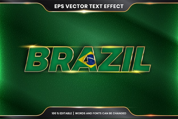 Brazil with its national country flag, editable text effect with gold color concept Premium Vector