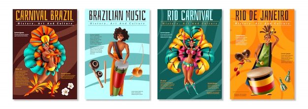 Brazilian annual carnival festival celebrations realistic colorful posters set with traditional musical instruments costumes isolated vector illustration Free Vector