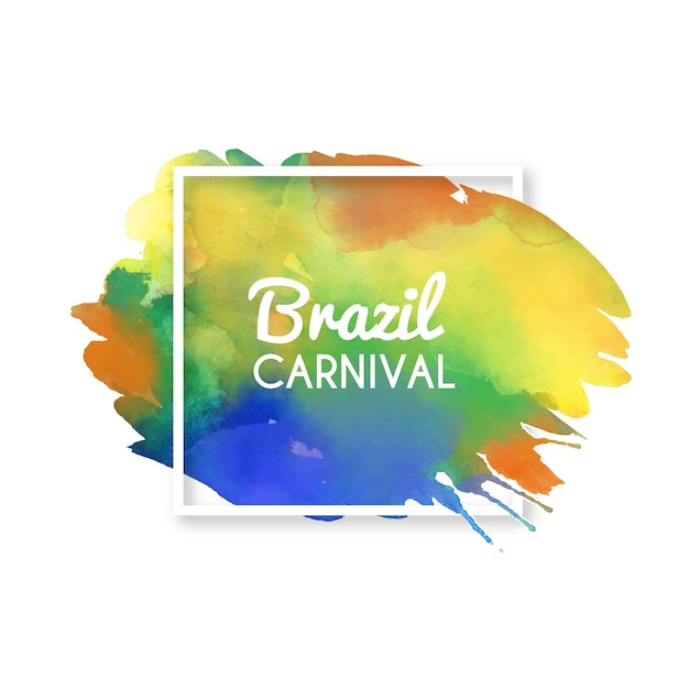 Brazilian carnival background on colourful watercolour stain Free Vector