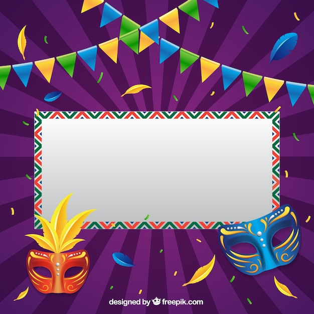 Brazilian carnival background with sign and masks Free Vector