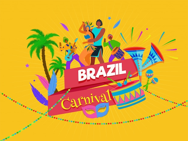 Brazilian carnival background. Premium Vector