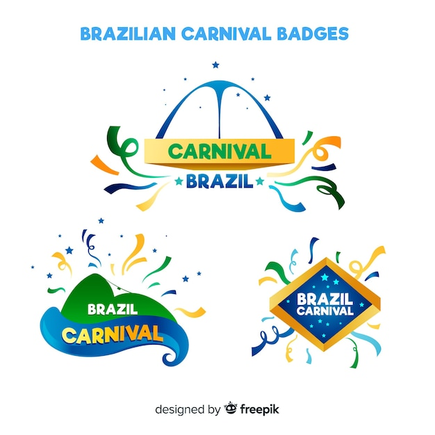 Brazilian carnival badge collection Free Vector