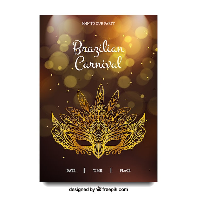 Brazilian carnival brochure with elegant golden mask Free Vector