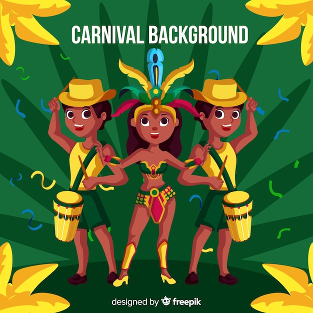 Brazilian carnival characters background Free Vector