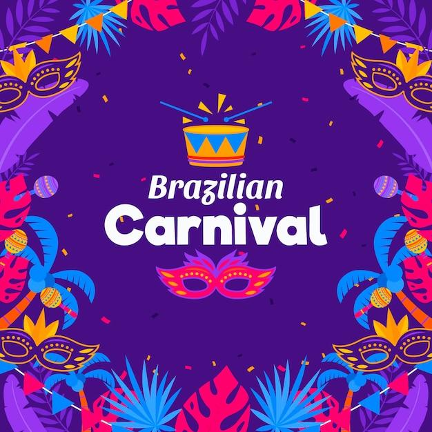 Концепция бразильского карнавала в плоском дизайне Бесплатные векторы