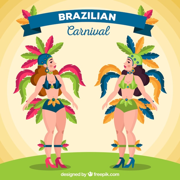 Brazilian carnival dancer collection with\ feathers