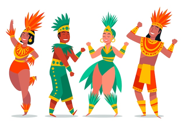 Brazilian carnival dancer collection Free Vector