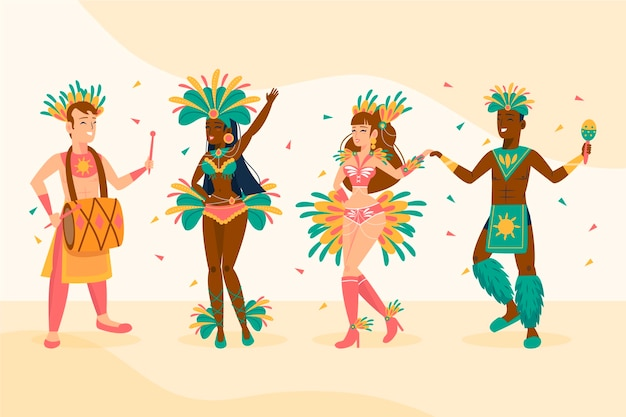 Brazilian carnival dancer collection Free Vector