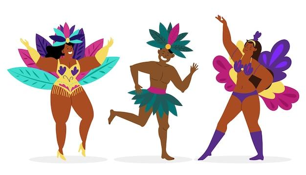 Коллекция бразильских карнавальных танцоров Premium векторы