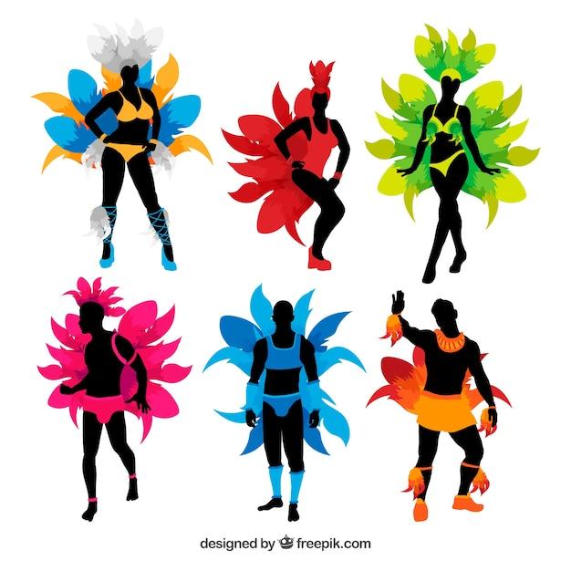 Brazilian carnival dancer set in six\ colors