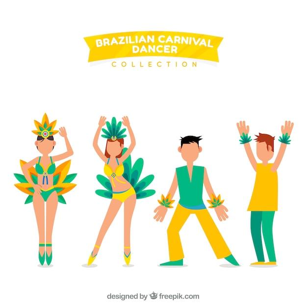 Brazilian carnival dancer set of four