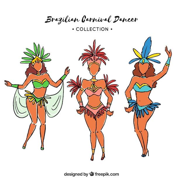 Brazilian carnival dancers set