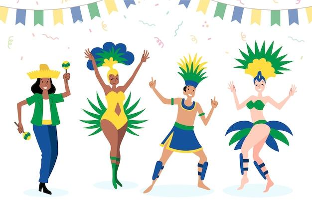 Ballerini di carnevale brasiliano trascorrere del tempo con gli amici Vettore gratuito