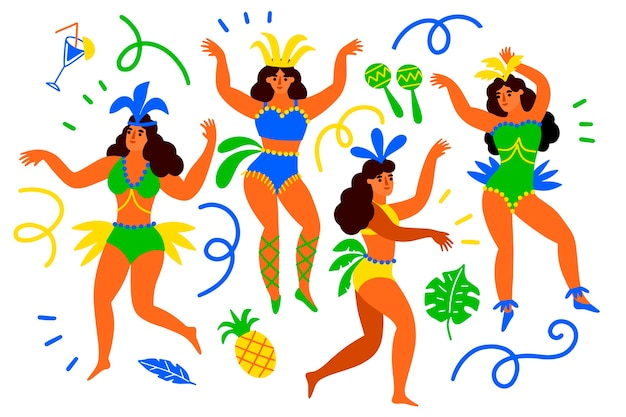 Brazilian carnival dancers with pineapple and ribbons Free Vector