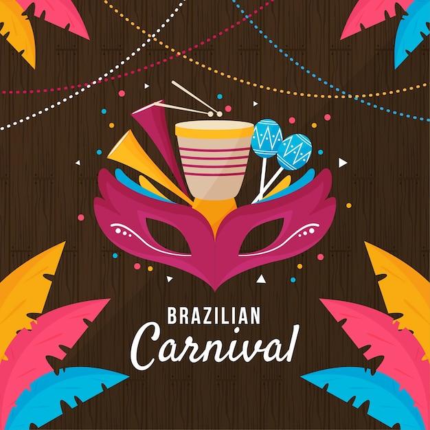 Brazilian carnival day celebration Free Vector