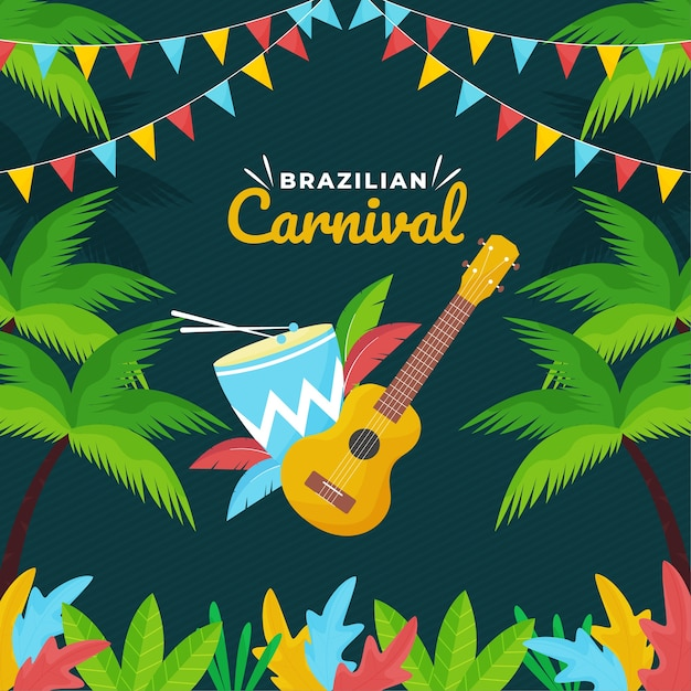 Brazilian carnival festive theme Free Vector