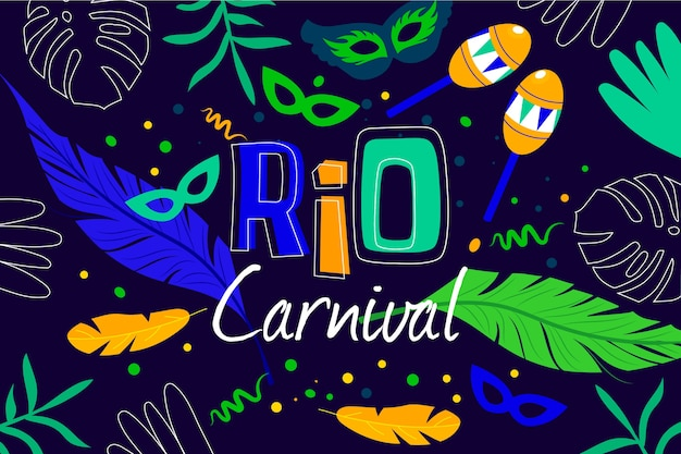 Brazilian carnival in flat design Free Vector