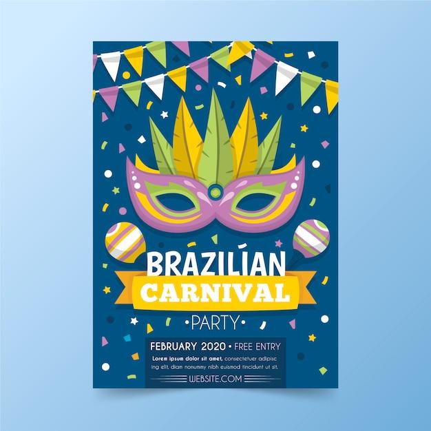 Шаблон флаера бразильского карнавала в плоском дизайне Бесплатные векторы
