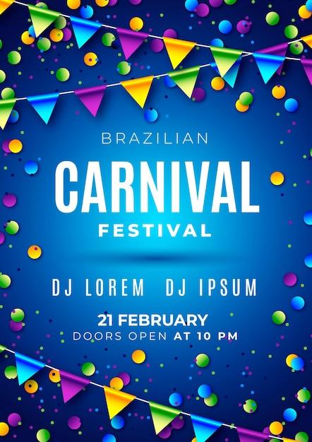 Brazilian carnival flyer template Free Vector