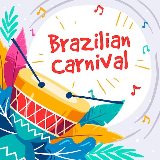 Бразильский карнавал иллюстрации рисованной Бесплатные векторы