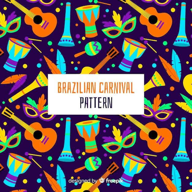 Brazilian carnival instruments pattern Free Vector