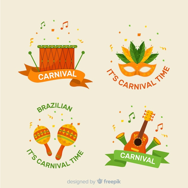 Brazilian carnival label collection Free Vector
