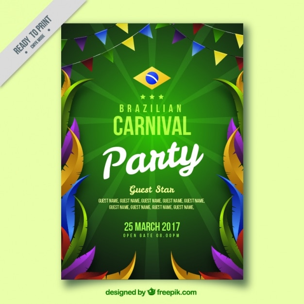 Brazilian carnival leaflet with colorful feathers and garlands Free Vector