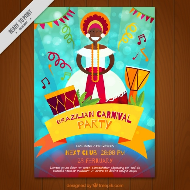 Brazilian carnival party brochure Vector | Free Download