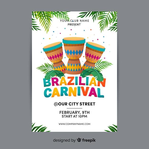 brazilian carnival party flyer template vector