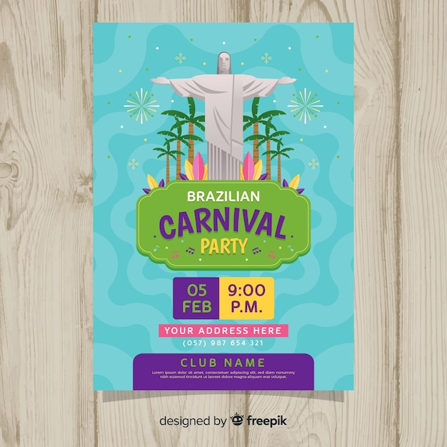 Brazilian carnival party flyer template Free Vector
