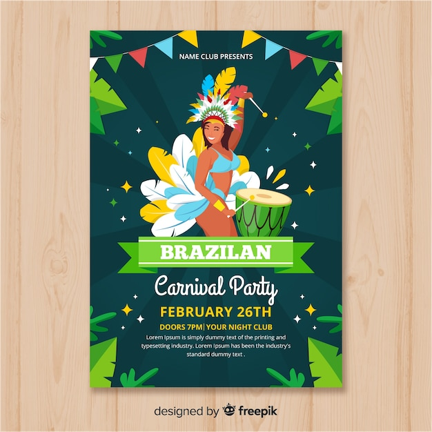 Brazilian carnival party flyer template Vector | Free Download