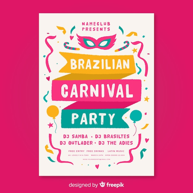 Brazilian carnival party flyer Free Vector