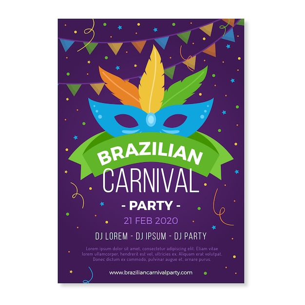 Brazilian carnival party with colourful mask poster Free Vector