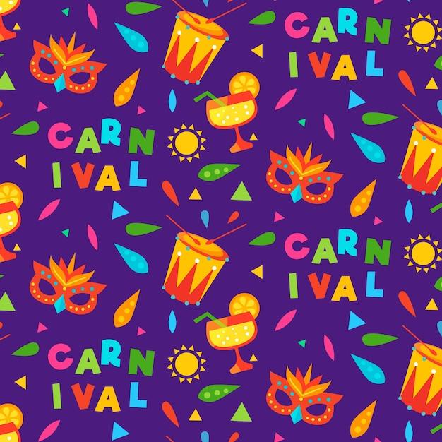 Brazilian carnival pattern in flat design Free Vector