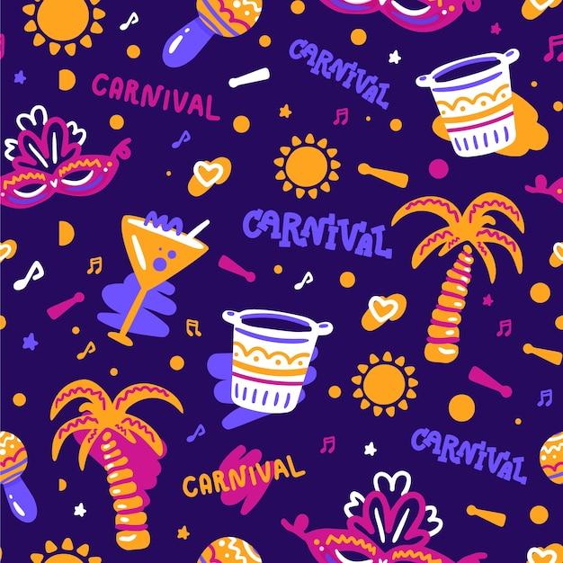 Brazilian carnival pattern hand drawn Free Vector
