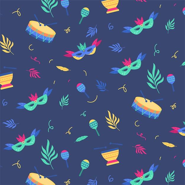 Brazilian carnival pattern theme Free Vector