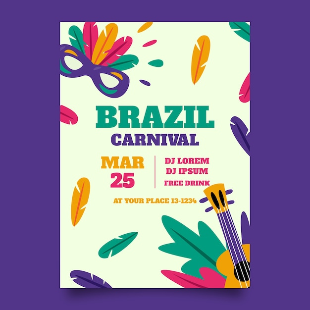 Brazilian carnival poster masks and guitars Free Vector