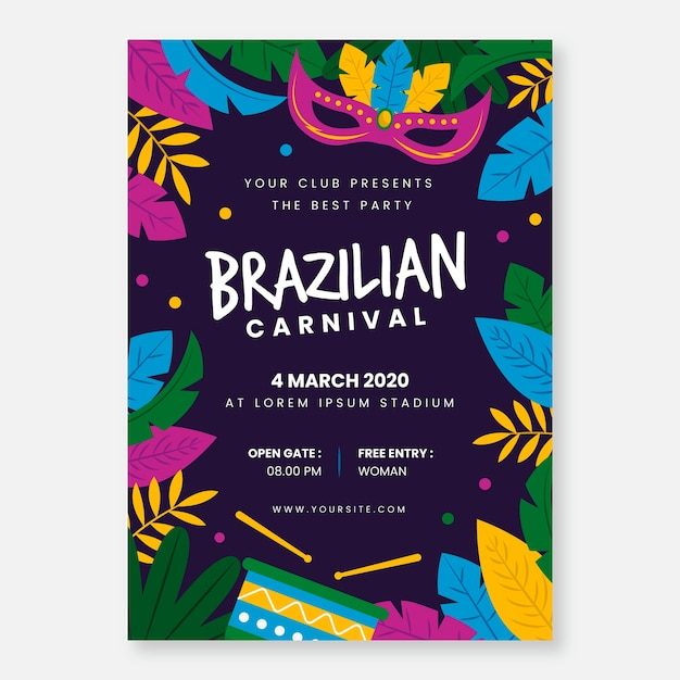Brazilian carnival poster template in flat design | Free ...