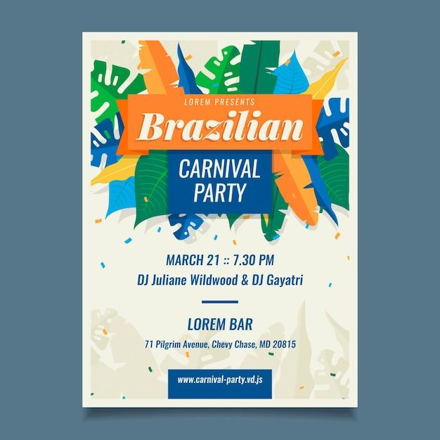 Шаблон бразильского карнавального плаката Бесплатные векторы
