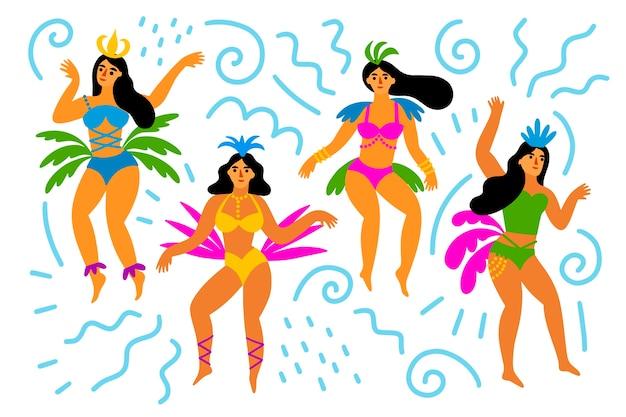 Ballerini brasiliani delle donne di carnevale che si divertono Vettore gratuito