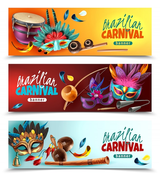 ブラジルの祭りカーニバル3伝統的な楽器と水平方向の現実的なカラフルなバナーマスク羽分離ベクトル図 無料ベクター