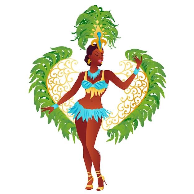 Brazilian samba dancer Vector | Premium Download