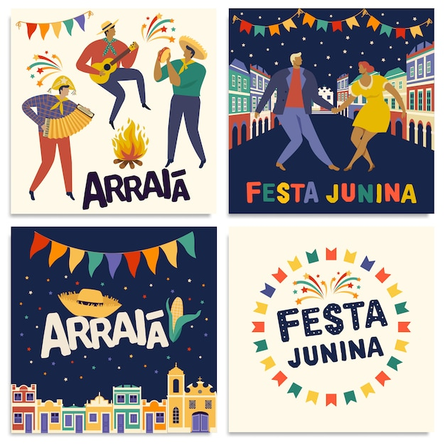 Brazilian traditional celebration festa junina cards Premium Vector