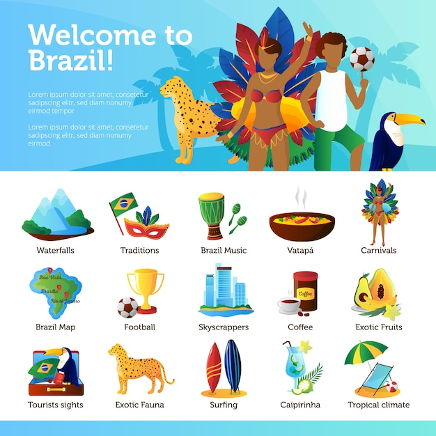Brazilian traditions landmarks recreational and cultural attractions for tourists flat poster Free Vector