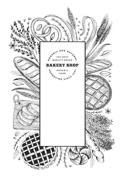 Хлеб и кондитерские изделия баннер. пекарня рисованной иллюстрации. винтажный дизайн-шаблон. Premium векторы