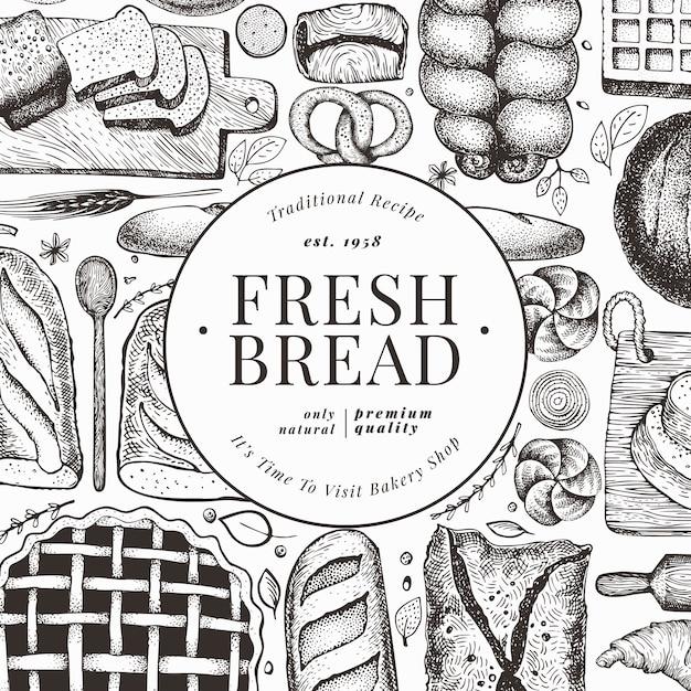 パンとペストリーのチラシ Premiumベクター